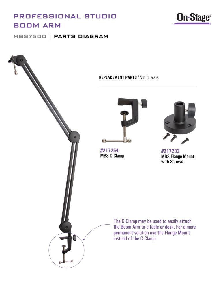 On-Stage MBS7500 Professional Studio Boom Arm