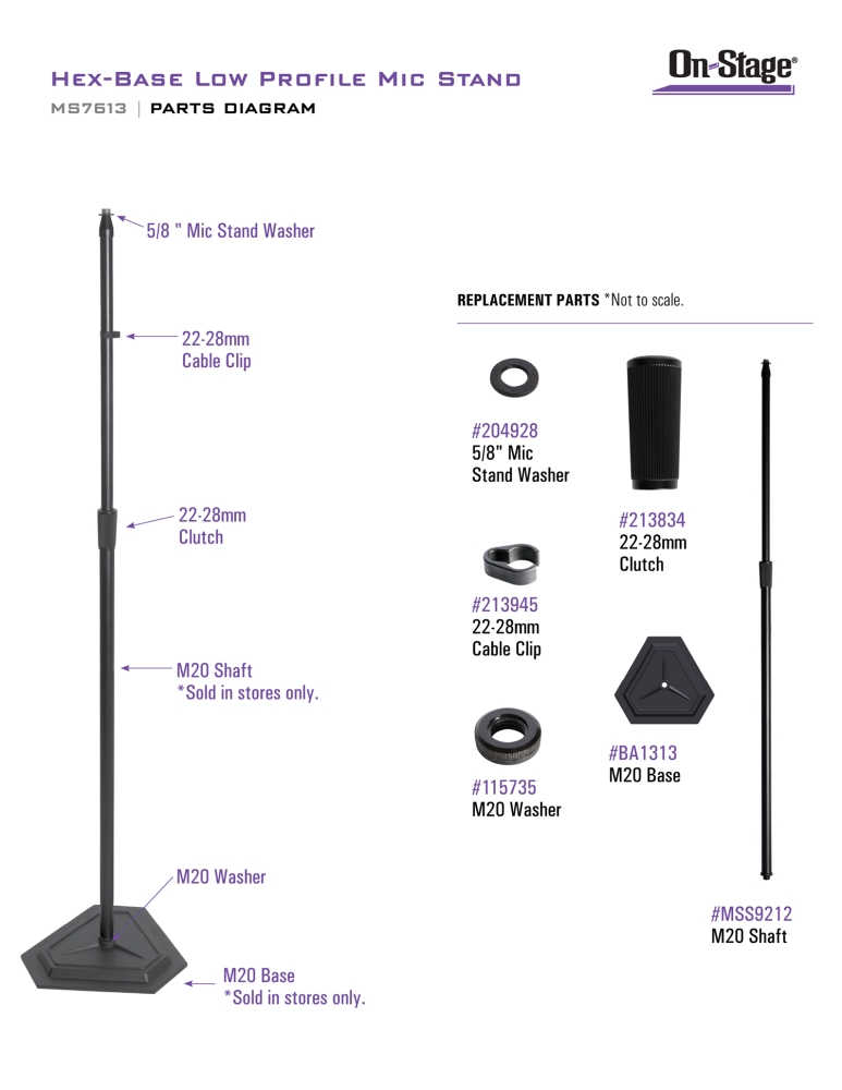 On-Stage MS7613 Hex-Base Low Profile Mic Stand