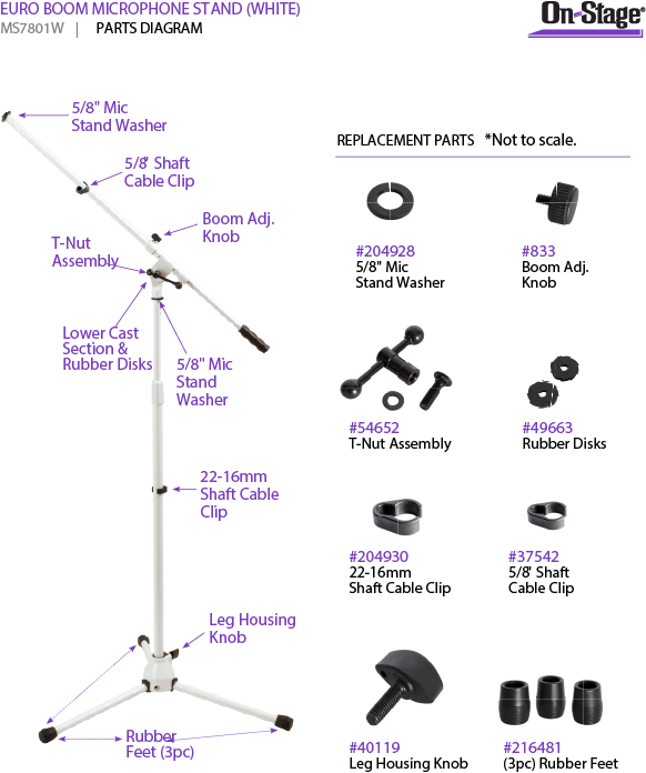 On-Stage MS7801W Euro Boom Microphone Stand (White)