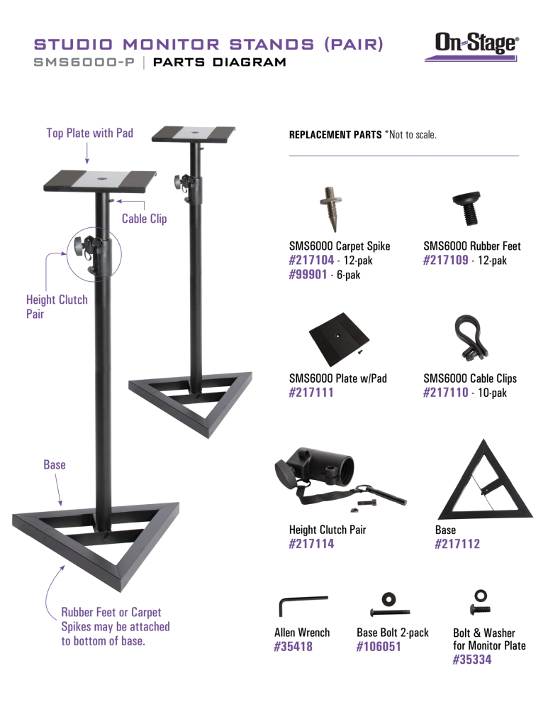 On-Stage SMS6000-P Studio Monitor Stands (Pair)